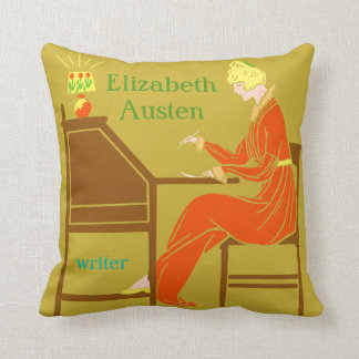 Art Deco Lady Author at Writing Desk in Orange Throw Pillow
