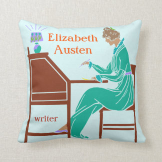 Art Deco Lady Author at Writing Desk in Teal Pillows