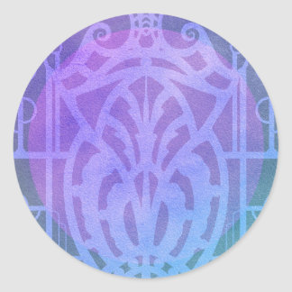 Art Deco Lady - GINELLE in Purples and Blues Classic Round Sticker