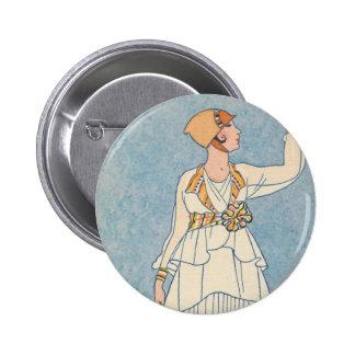 Art Deco Lady - Harvesting fruit. Button