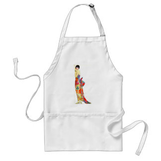 Art Deco Lady in formal Gown Adult Apron