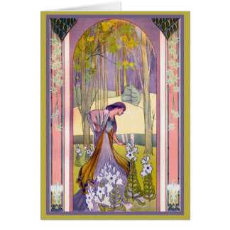 Art Deco Lady in the Garden Card