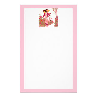 Art Deco Lady in the Rose Garden Stationary Stationery