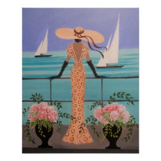ART DECO LADY ON A BALCONY POSTER