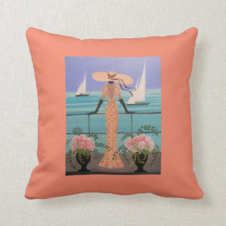 ART DECO, LADY ON A BOAT, PILLOW