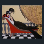 """ART DECO LADY ON A LOUNGE POSTER<br><div class=""""desc"""">Original acrylic painting by Dian... ... ... .A charming,  whimsical and vintage Art Deco painting of a lady reclining on a lounge. This decorative painting would look good anywhere you place it in your home or office. A great gift item also!</div>"""