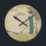 """Art Deco Lady Round Clock<br><div class=""""desc"""">The Art Deco period was an era of glamor,  beauty and sophistication.</div>"""