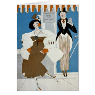 Art Deco Lady–Standing in front of producing corp. Card