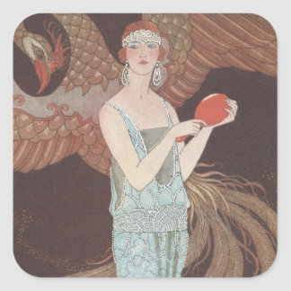 Art Deco Lady – Standing in front of the bird. Square Sticker