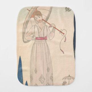 Art Deco Lady – Standing with umbrella. Burp Cloth