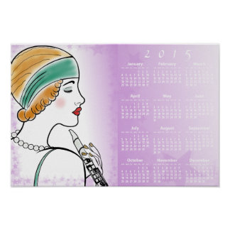Art Deco Lady with Clarinet 2015 Wall Calendar Print