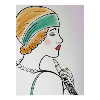 Art Deco Lady with Clarinet Poster
