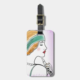 Art Deco Lady with Clarinet Purple Custom Luggage Tag