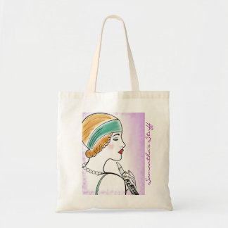 Art Deco Lady with Clarinet Purple Custom Tote Bag
