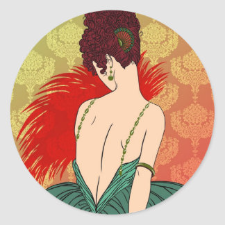 Art Deco Lady with Damask - BIANCA: Christmas Past Classic Round Sticker