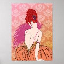 Art Deco Lady with Damask - BIANCA: Melon Melange Posters