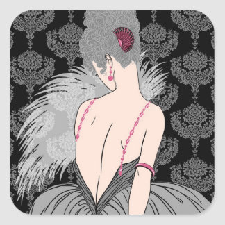 Art Deco Lady with Damask - BIANCA: Winter Grays Square Sticker