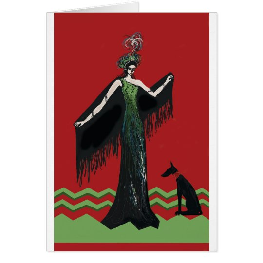Art Deco Lady with Dog Card