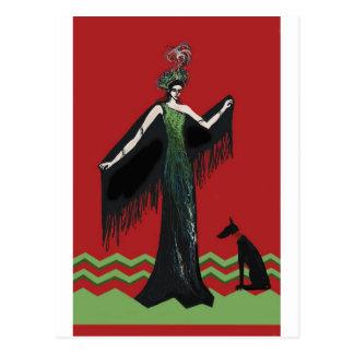 Art Deco Lady with Dog Postcard