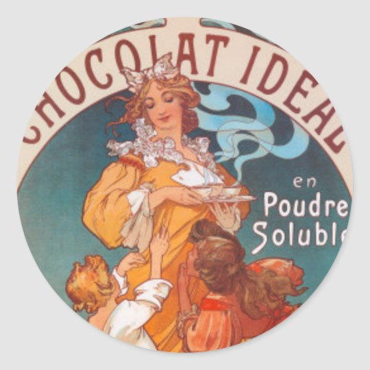 Art Deco Lady with Hot Chocolate Classic Round Sticker