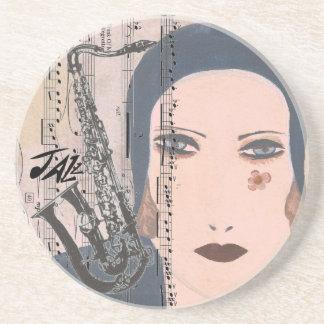 Art Deco Lady With Saxophone Sandstone Coaster