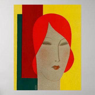 Art Deco Large Head Woman by Cubist Eduardo Benito Poster