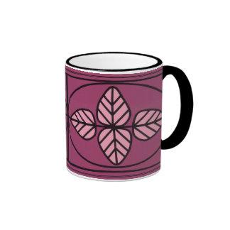 Art Deco Leaf Design Ringer Mug
