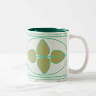 Art Deco Leaf Design Two-Tone Coffee Mug