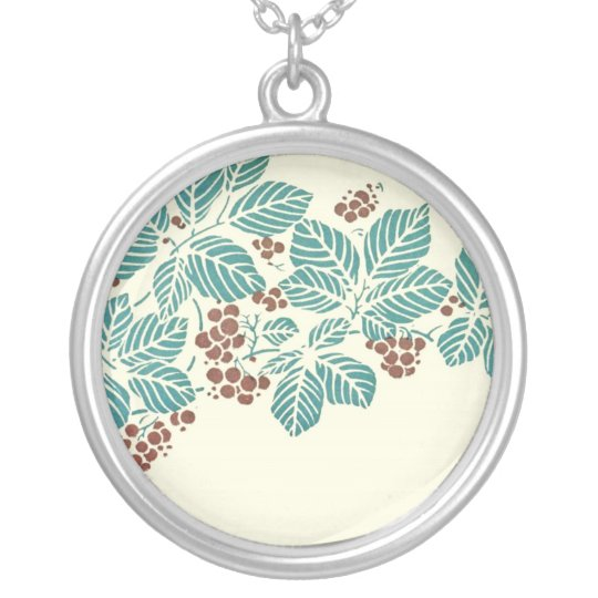 Art Deco Leaves and Berries Stencil Silver Plated Necklace