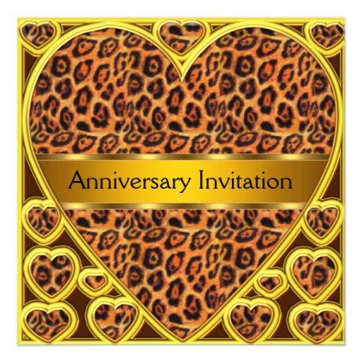 art deco leopard wedding anniversary invitation square invitation card zazzle. Black Bedroom Furniture Sets. Home Design Ideas
