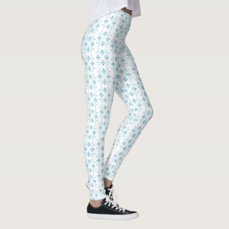 Art deco light blue and white floral leggings