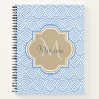 Art Deco Light Blue Fish Scales Tan Monogram Name Notebook
