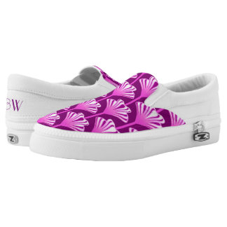 Art Deco Lily, Amethyst Purple and Orchid Slip-On Sneakers