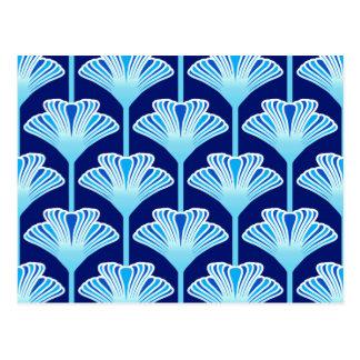 Art Deco Lily, Cobalt Blue, Aqua and White Postcard