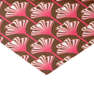 Art Deco Lily, Dark Brown and Coral Pink Tissue Paper
