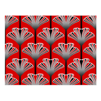 Art Deco Lily, Deep Red and Gray / Grey Postcard