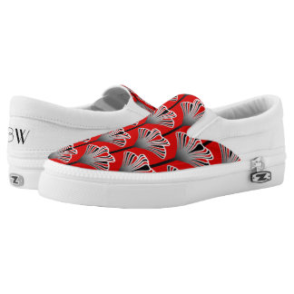 Art Deco Lily, Deep Red and Gray / Grey Slip-On Sneakers