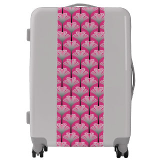 Art Deco Lily, Fuchsia Pink and Silver Gray Luggage
