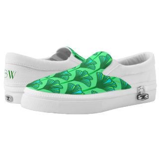 Art Deco Lily, Jade Green and Turquoise Slip-On Sneakers