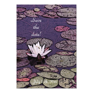Art deco lily pond save the date invitation