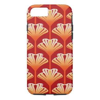 Art Deco Lily, Tangerine Orange and Gold iPhone 7 Case