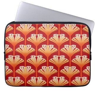 Art Deco Lily, Tangerine Orange and Gold Laptop Sleeve