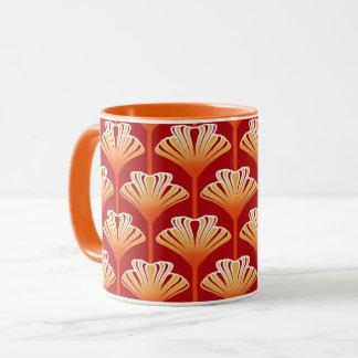 Art Deco Lily, Tangerine Orange and Gold Mug