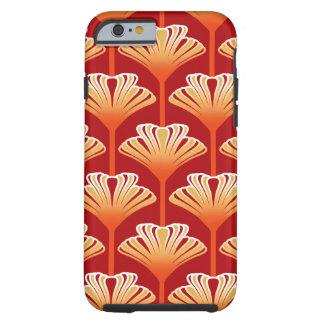 Art Deco Lily, Tangerine Orange and Gold Tough iPhone 6 Case