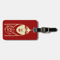 Art Deco Long Haired Girl With Rose Bag Tag at Zazzle