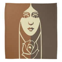 Art Deco Long Haired Girl With Rose Bandanas at Zazzle