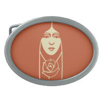 Art Deco Long Haired Girl With Rose Oval Belt Buckles at Zazzle