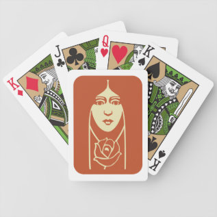 Art Deco Long Haired Girl With Rose Bicycle Playing Cards at Zazzle