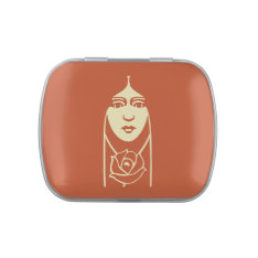 Art Deco Long Haired Girl With Rose Candy Tin at Zazzle