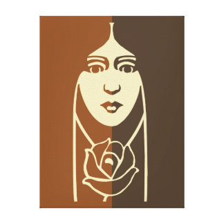 Art Deco Long Haired Girl With Rose Canvas Print